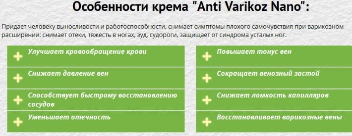Отзывы о креме «Анти Варикоз Нано»